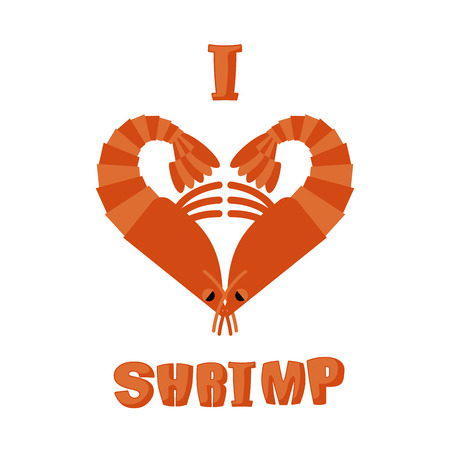 arthropods: I love shrimp. Symbol of heart of an underwater crustacean animal. Sign for lovers of marine plankton. aquatic arthropods Illustration