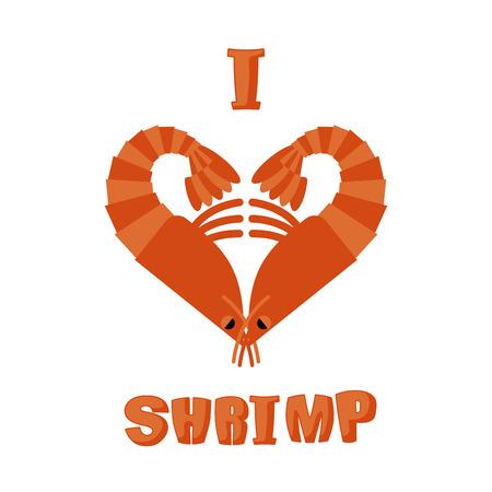plankton: Me encanta el camar�n. El s�mbolo del coraz�n de un animal crust�ceo bajo el agua. Inscripci�n para los amantes del plancton marino. artr�podos acu�ticos Vectores