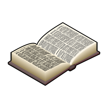 hard cover: Open Book isometric isolated. Ancient text. old edition in Hard Cover Illustration