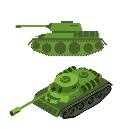 tracked: Tank Isometric on white background. Army technique. Armored fighting vehicles, tracked with gun and machine gun