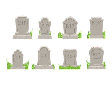 churchyard: Gravestones set. Old Tomb Collection. Ancient RIP. Grave on white background