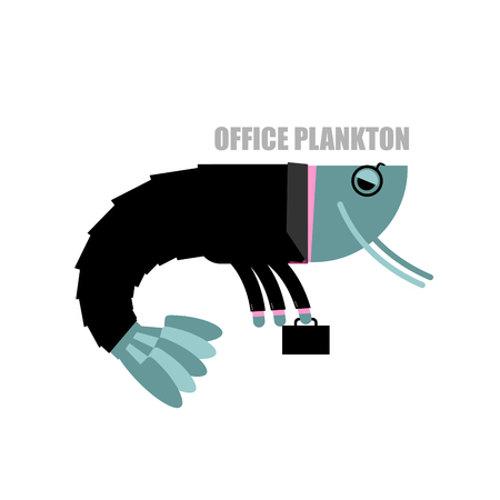 crustaceans: Office plankton. Shrimp in business suit and briefcase. Marine animal goes to work in service. Crustaceans manager in tie and carrying briefcase