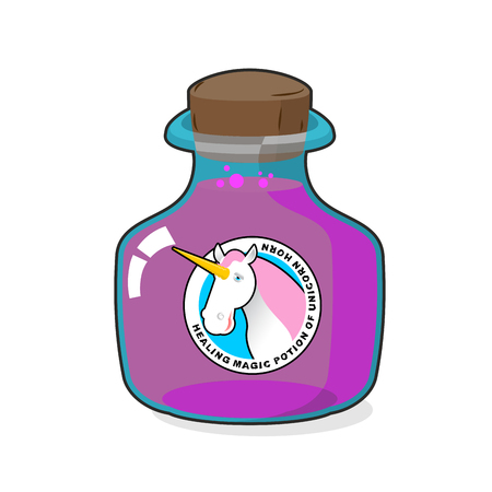 antidote: Magical potion from horn of unicorn. Magic drink. Fantastic very rare drink. alchemy jar witchcraft Illustration