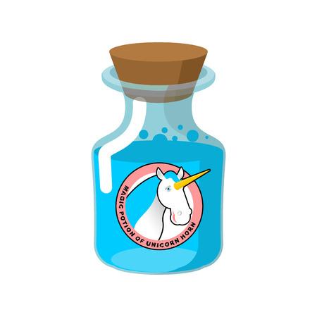 caballo bebe: Poci�n m�gica del cuerno del unicornio. bebida m�gica. bebida muy rara fant�stico. brujer�a tarro de la alquimia