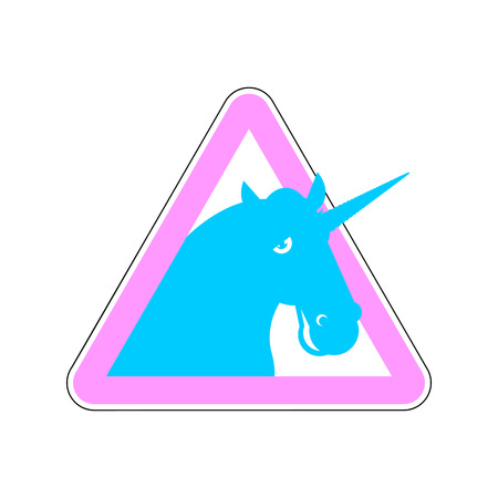 Warning sign of attention unicorn. Dangers of yellow sign with magic animal horn. LGBT character in red triangle. Set of road signs Illustration