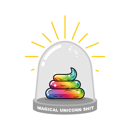 Magical Unicorn shit in Glass bell. Rainbow Fairy turd research. Scientific experiment of feces mythical animal with a horn. Fantastic artifact poop in laboratory jar