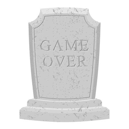 Game over graf. Gesneden stenen einde van het spel. tekst grafsteen. RIP oude gebarsten. De dood is het einde van het leven. final inscriptie op het graf