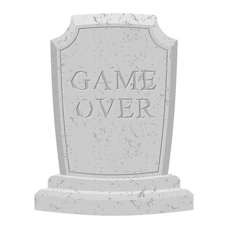 grave stone: Game over tomb. Carved stone end of game. text tombstone. RIP old cracked. Death is end of life. final inscription on grave Illustration