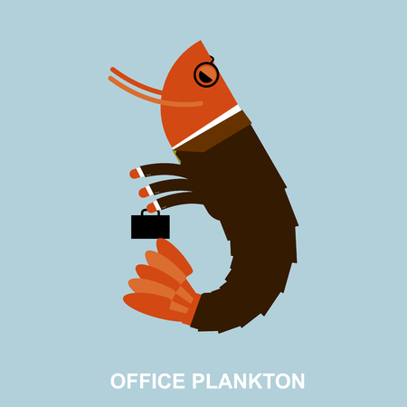 marine crustaceans: Office plankton. Shrimp in business suit and briefcase. Marine animal goes to work in service. Crustaceans manager in tie and carrying briefcase