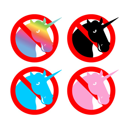 strikethrough: Ban unicorn. Stop magical animal. Prohibited sexual symbol LGBT community. Strikethrough magic beast with horn. Emblem against gay and lesbian people. Red prohibition sign