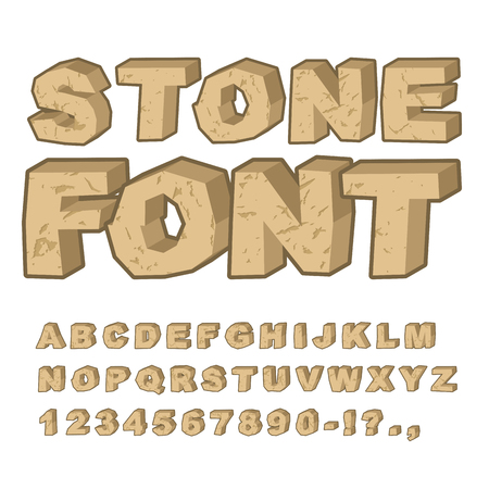 Stone font. Set of letters from stones. Alphabet and rocks. stony Alphabet with cracks