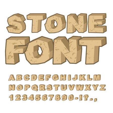 Czcionka Stone. Zestaw listów z kamieni. Alfabet i skały. kamienisty Alfabet z pęknięciami