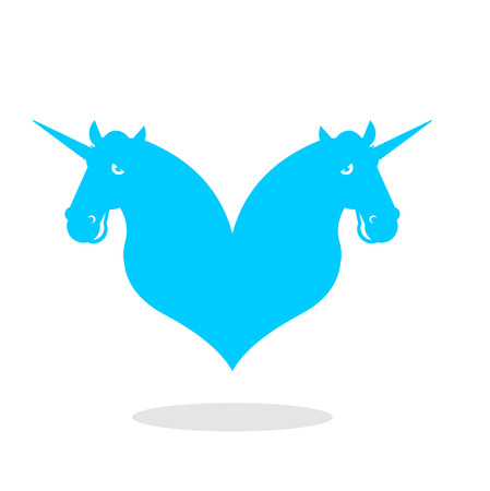 Unicorn love . LGBT symbol community. Sign of love and two magic animals. Heart and magical beast