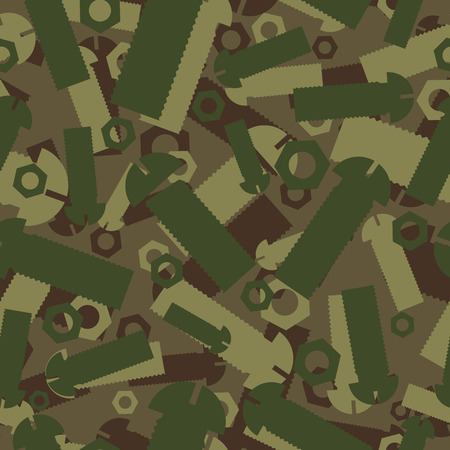 apparel part: Army texture of nuts and bolts. Soldier green camouflage ornament. mechanic Khaki background. Military seamless pattern