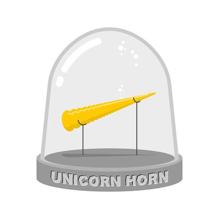 Einhorn-Horn in Glasglocke. Fee Regenbogen Artefakt für Studie. Wissenschaftliches Experiment mythischer Tierhorn in Laborglas