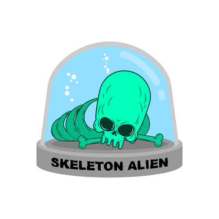 experimental: Skeleton alien in Glass Bell. Bones UFO research. Skull alien humanoid laboratory flask. Glass Bank Research. Mystery Experimental analysis of data green monster from another planet