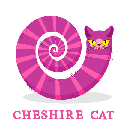 hatter: Cheshire Cat. Magic animal with long tail. Striped  Fairy tale of the beast Illustration