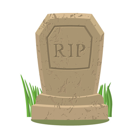 rip: Old gravestone with cracks.Tomb on white background. ancient RIP. Granite plate with cracks. Grave isolated. Illustration