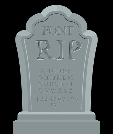 RIP font. Ancient carved on tombstone of ABC. Tomb of alphabet. Set of letters to write on grave