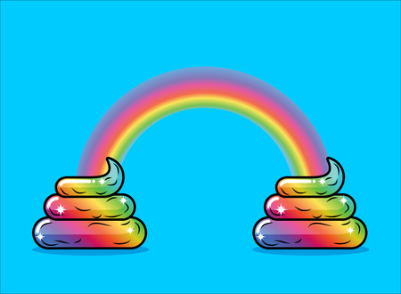 Turd unicorn and rainbow. Appearance of rainbow shit fabulous animal with horn Ilustracja