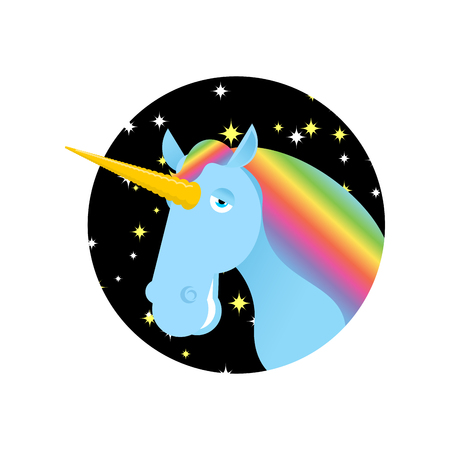 brute: Unicorn fabulous beast with horn. Magic animal with round. Fantastic brute Illustration