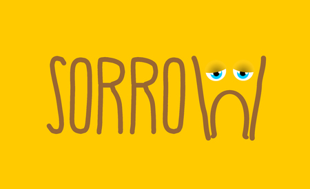 sorrowful: Sadness sad emotion. Yellow face sorrowful eyes. melancholyd mouth. tragic sign