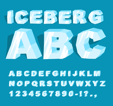 Iceberg font. Ice alphabet. Set of letters from cold ice. Frosty ABC. Blue transparent letters Illustration