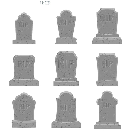 gravestones: Tomb set. Ancient RIP. Collection of gravestones. Grave on white background