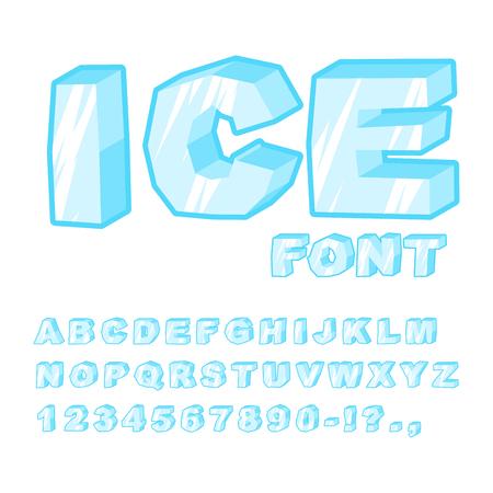 Czcionka lodu. Zimne listy. Przejrzyste niebieski alfabet. Frosty alfabetu. mrożone litery