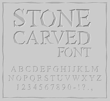 Steen gesneden lettertype. Alfabet op rotsplaat. Chips en krassen. Oude ABC. Archaïsche letters