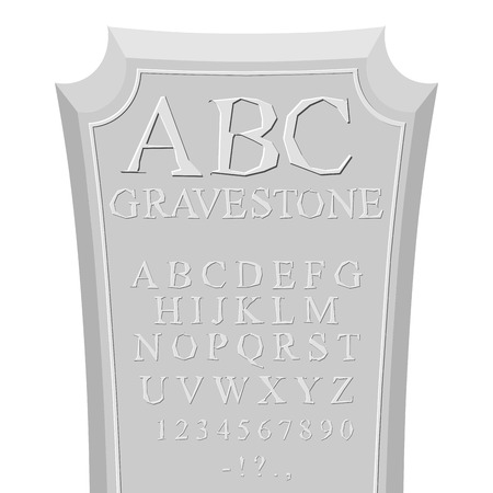Grafzerk ABC. lettertype voor grafsteen. Alfabet voor RIP. Set van letters in steen gebeiteld Stock Illustratie