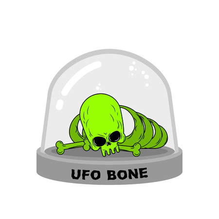 experimental: UFO Bones in Glass Bell. Skull alien humanoid laboratory flask. Skeleton alien. Glass Bank Research. Mystery Experimental analysis of data green monster from another planet Illustration