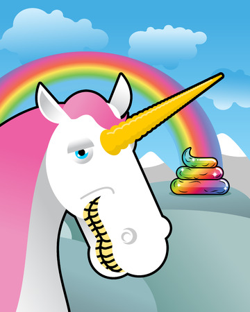 shit: Unicorn on landscape. Turd unicorn. Rainbow of shit. Clouds and sky. Magic animal laughs. Laughter magical beast Illustration
