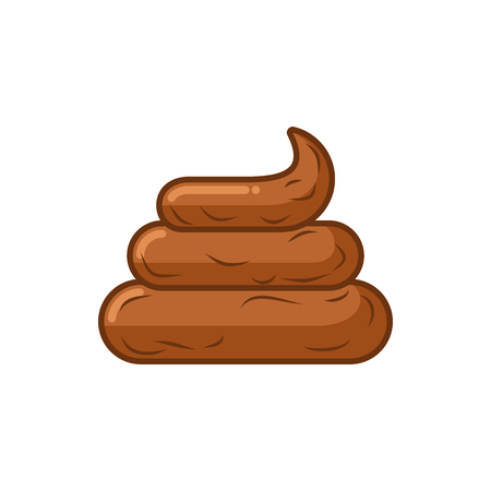 Shit on white background. Icon turd. Brown poop isolated