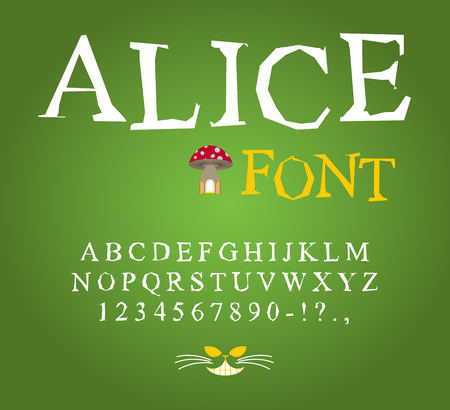 Alice in Wonderland font. Fairy ABC. mad Alphabet  Cheshire Cat. Set of letters. Magical beast with long striped tail