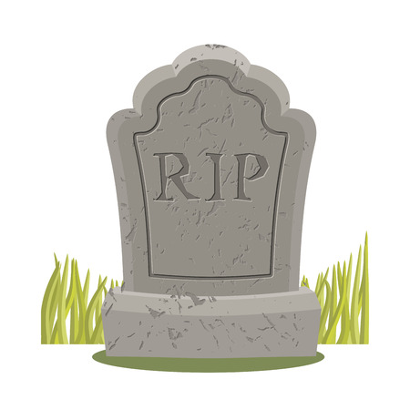 rip: Grave isolated. Old gravestone with cracks. tombstone on white background. ancient RIP. Granite plate with cracks