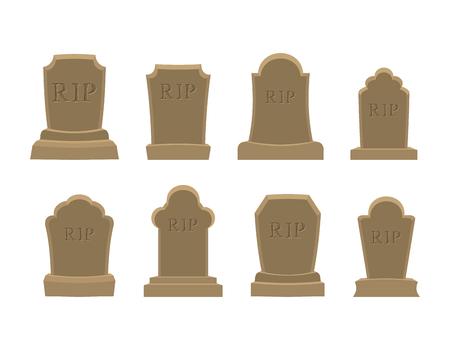 Tomb in te stellen. Oude RIP. Het verzamelen van grafstenen. Graf steen op een witte achtergrond