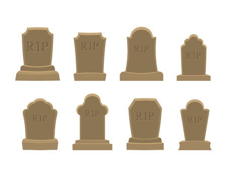 rip: Tomb set. Ancient RIP. Collection of gravestones. Grave stone on white background