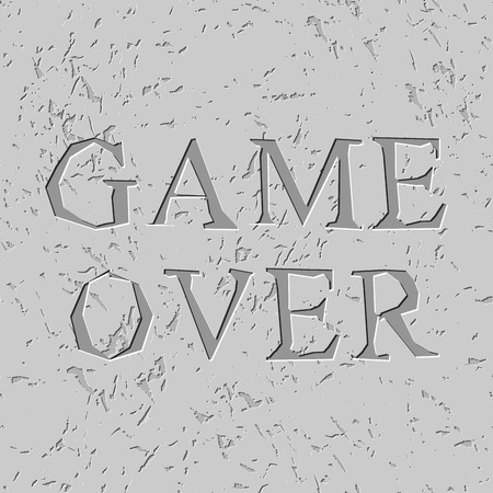 carved letters: Game over letters carved on stone plate. Chips on rock Illustration