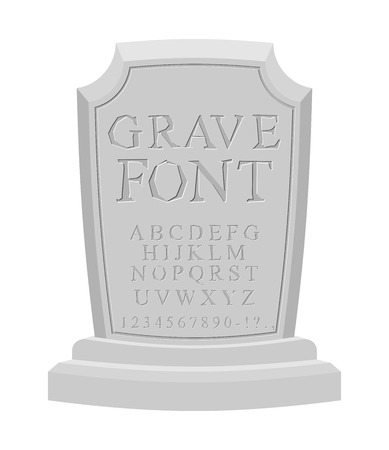 carved letters: Gave font. Ancient carved on tombstone of ABC. Tomb of alphabet. Set of letters to write on gravestone