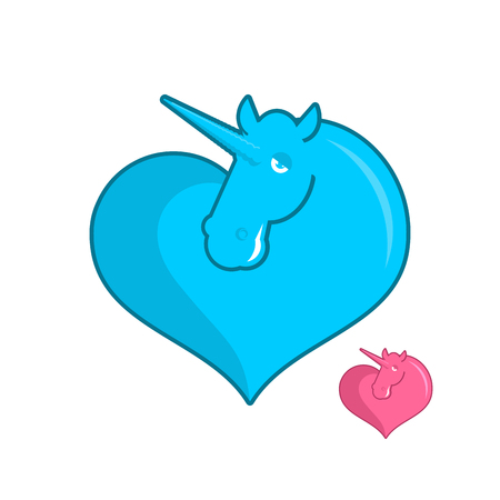 Unicorn heart . LGBT symbol community. Sign of love magic animals. Heart and magical beast