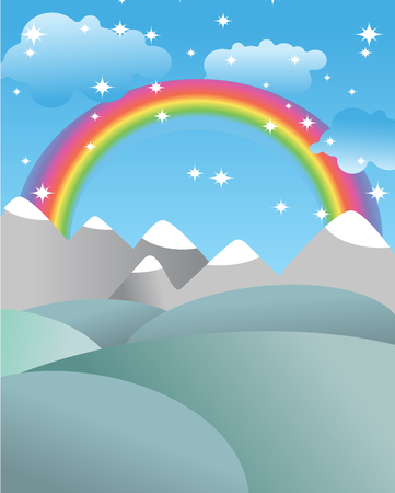 Mgic landscape with rainbow. Fields and meadows. Mountains and rocks. White clouds and blue sky