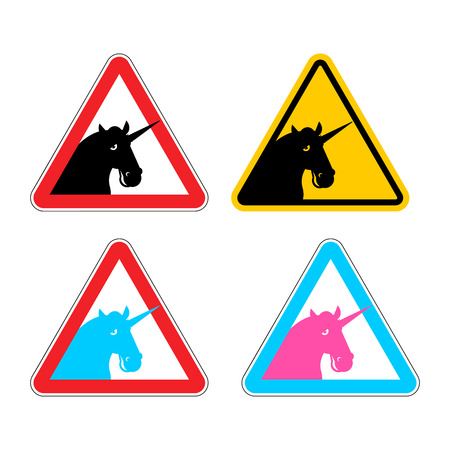 yellow beware: Warning sign of attention unicorn. Dangers of yellow sign with magic animal horn. LGBT character in red triangle. Set of road signs Illustration