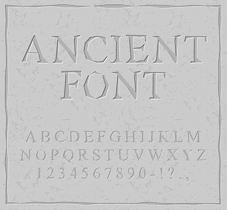 carved letters: Ancient font. Carved on stone plate alphabet. Prehistoric alphabet. Antique set of letters Illustration