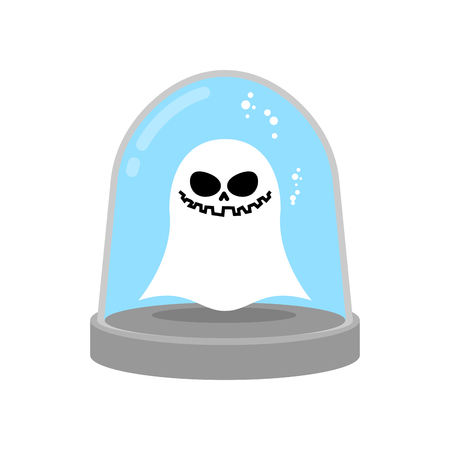 scientific research: Ghost in trap. specter in Glass bell. laboratory flask. Scientific research Paranormal. wineglass trap for phantom Illustration