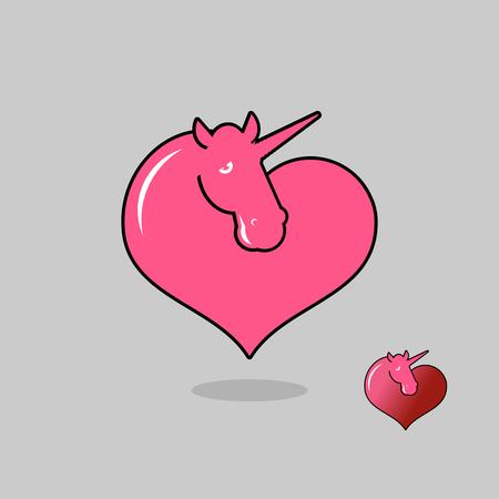 gay men: Unicorn LGBT symbol community. Sign of love magic animals. Heart and magical beast Illustration