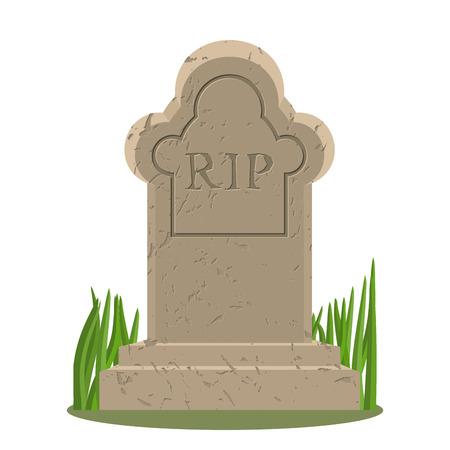 Oude graf met scheuren. Grave op een witte achtergrond. oude RIP. Granieten plaat met scheuren. Grave geïsoleerd. Vector Illustratie