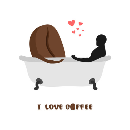 closeness: coffee lovers. Coffee beans and  person in bath. Joint bathing. Passion feelings among lovers. Romantic illustration food