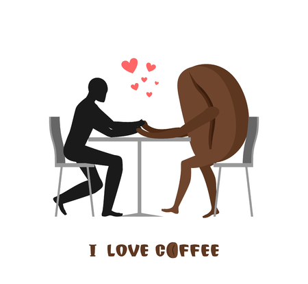 romantic date: coffee lovers. Lover in cafe. Man and coffee beans sitting at table. Food in restaurant. Romantic date in public place. Romantic illustration food