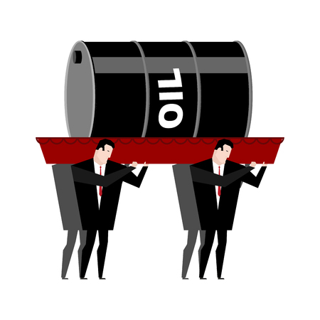 mortician: Funeral oil. Barrel of oil carried in coffin. Businessmen buried petroleum. Red wooden casket. Procession to cemetery. Grief illustration. Falling  petrol rate